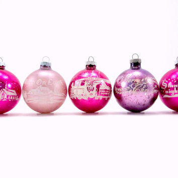 1950s Stenciled Glass Shiny Brite Christmas Holiday Ornaments PInk