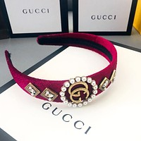 GUCCI tide brand female personality rhinestone pearl double G headband Rose red