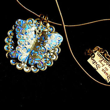 Fine Art Necklace,Made in Israel,Gold Necklace ,Gold Butterfly,Blu openwork pendat,Jewelry gift For Young girl,Israeli fine art Necklace.