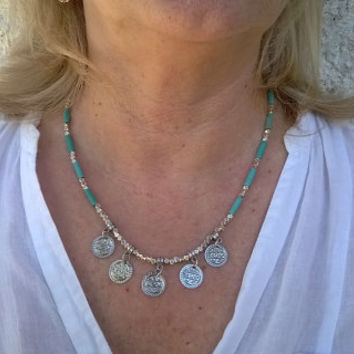 Necklace turquoise Boho, Choker silver coins, Gypsy, ethnic jewelry, necklace free people
