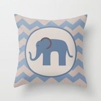 Baby Blue Chevron Elephant Throw Pillow by UMe Images