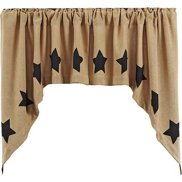 Burlap with Black Stars Swag Curtains