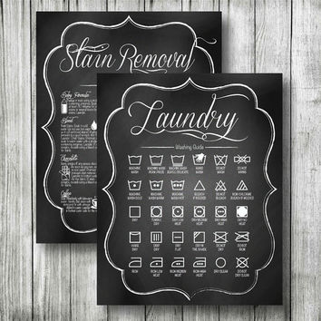 "2 SIGNS - LAUNDRY Combo Washing Symbols & Stain Removal Guide Decor Pictures, DIGITAL Printable File. 8x10"" and 11x14"", Chalkboard Design"