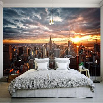 Photo Wallpaper Beautiful New York City Sunset Landscape Art Photography Background Wall 3D Mural Dining Room Home Decor Fresco