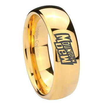 10mm Mountain Dew Dome Gold Tungsten Carbide Mens Wedding Ring