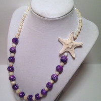 Blue/Pink/Purple Galaxy Starfish Necklace