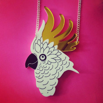 Cockatoo Necklace. Bird Statement Necklace. Laser Cut Acrylic Accessory. Tropical Bird Pendant.