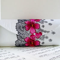 White silk clutch purse with embroidered fuchsia flower lace overlay. Lace fashion
