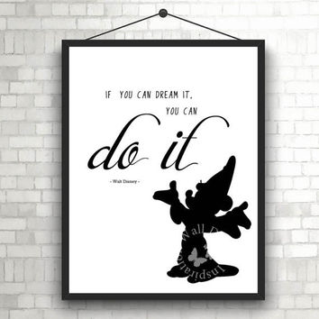 You can do it | Walt Disney Disneyland | Silhouette | Art Print | Inspiration | Home Decor Print | Printable | Typography | Motivation Quote