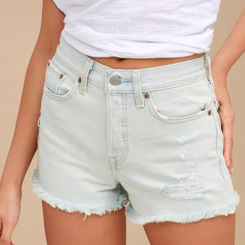 Wedgie Fit Light Wash Distressed Denim Shorts