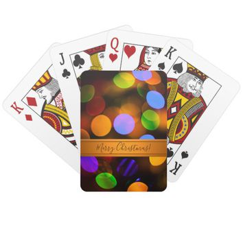 Multicolored Christmas lights. Add text or name. Playing Cards