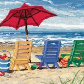 """Beach Chair Trio Needlepoint Kit 16""""X12"""" Stitched In Wool & Thread"""