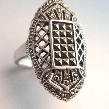 Art Deco Marcasite Sterling Silver Ring, Rectangle Center, Glittery, Vintage sz 8