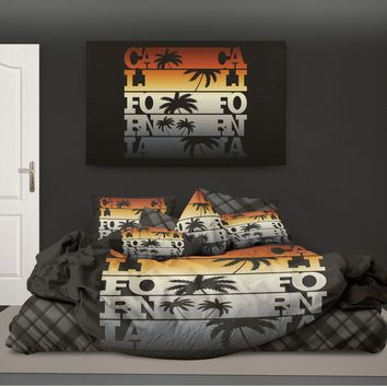 Surfer Bedding California with Palm Trees Eco Friendly Surf Duvet Cover