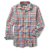 Cremieux Long-Sleeve Washed Linen Check Woven Shirt - White
