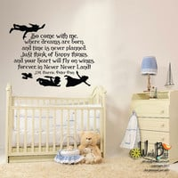 Fly With Me - Peter Pan quote - Vinyl Wall Decal Sticker Art childrens decal