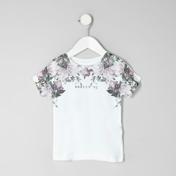 Mini boys white floral 'Brooklyn' T-shirt - Baby Boys Tops - Mini Boys - boys