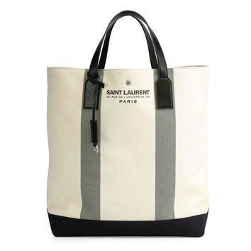 Cream Hybrid Leather and Canvas Tote by Saint Laurent