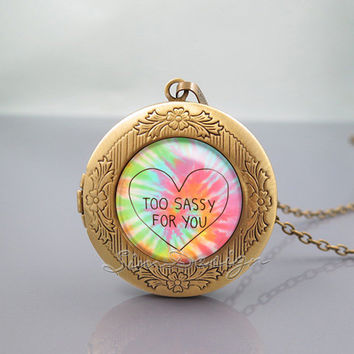 Too Sassy For You Locket Necklace,Too Sassy For You Art Colorful Heart, vintage pendant Locket Necklace