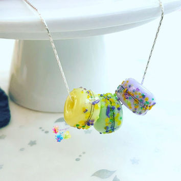 Lampwork Charm Necklace Spring Crocus, Sterling Silver Necklace, Lampwork Jewellery, Gift for Her, Bridesmaid Gift