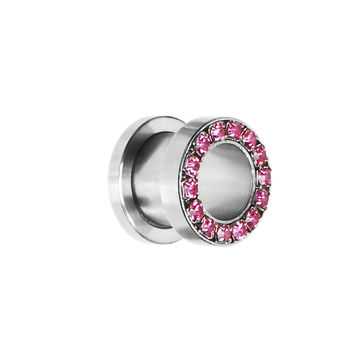 00 Gauge Stainless Steel Pink Gem Screw Fit Tunnel