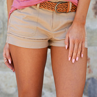 If Only Belted Shorts - Khaki