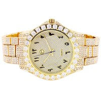 Men's 41MM Arabic Dial Gold Finish Solitaire Bezel Watch