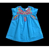 Lucia Turquoise Embroidery Fair Trade Dress