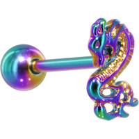 Rainbow Titanium Anodized 3-D Dragon  Barbell Tongue Ring
