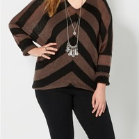 Plus Burgundy Chevron Dolman Sweater