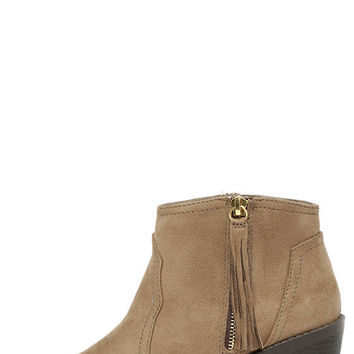 Quest Dressed Light Taupe Suede Ankle Boots