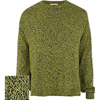 River Island MensLime fleck knit oversized sweater