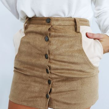Doing My Thing Skirt: Tan