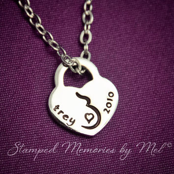 Coming Soon - Pregnancy Necklace - Hand Stamped Stainless Steel Heart Lock Personalized with Name and Due Date - Pregnant Jewelry - New Mom