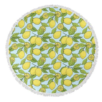 LEMONS Round Beach Towel By Norhern Whimsy