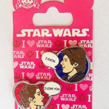 Star Wars Disney Pin 113240 Han Solo and Princess Leia Valentines 2016 I love you I know pin set