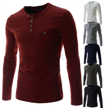 New Fashion Men's Slim Fit Henley Tee Shirt