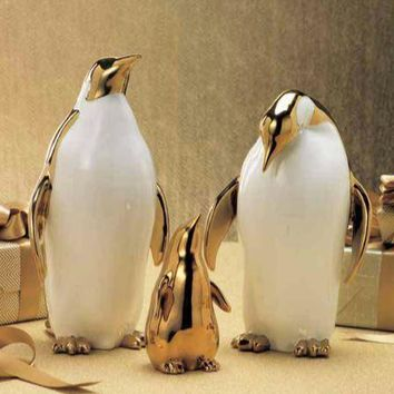 Gold Plated Penguin Family by Zodax