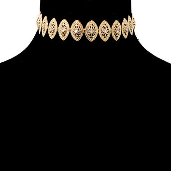"15"" gold crystal collar choker oval necklace bridal prom pageant"
