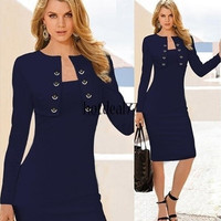 Women's Elegant Pinup Long Sleeve Tunic Cotton Gifts Stretch Business Dress [9221897220]