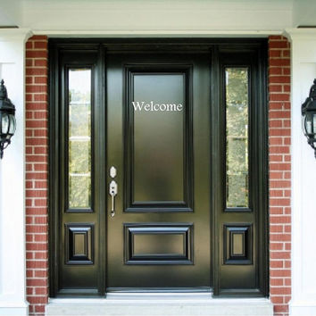 "Welcome Door Decal-4""h x 19""w-Vinyl Lettering Decal-Wall Words Decal-Front Entry Decal-Home Decor-Graphic Art Decal"