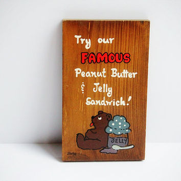 Vintage Wooden 'Famous' Kitchen Sign / Wall Plaque with Bear and Jelly Jar / Home Decor / Kitsch