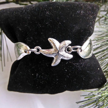 Spoon bracelet, by the sea, starfish, beach jewelry, magnetic clasp, Springtime 1957, gifts for her