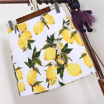 New  Fashion Summer Skirt Lemon Print A-Line Slim Faldas Mini Skirts Woman Retro High Waist Skirts 72565 SM6