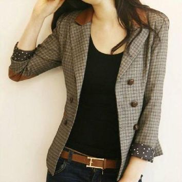 CREYIJ6 Korean Vintage Fashion Spring and Autumn Female Blazers Plaid Double Breasted Slim Suits Jackets Long Sleeve Woman Blazers Coats