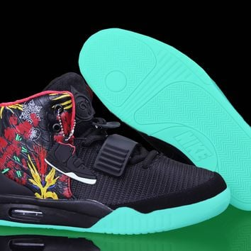 "[Free Shipping ] Nike Air Yeezy 2 ""Givenchy"" by Mache Customs Black  Basketball Sneaker"