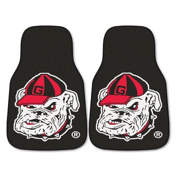 Georgia Bulldogs NCAA Car Floor Mats (2 Front) Bulldog Logo on Black