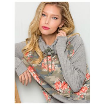 Always Adorable! Slouchy Drawstring Floral Camo Sweater Top