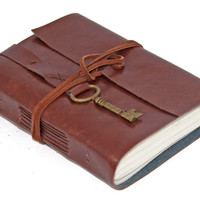 Faux Leather Journal with Key Bookmark - Choice of 6 colors - 3 paper options