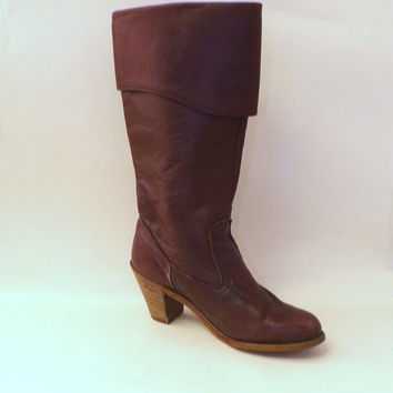 Vintage 70s Dexter Tall Leather Slouch Fold Over Boots Size 6.5 Womens Burgundy Maroon Oxblood Wooden High Heel Preppy Boho Cowgirl Western